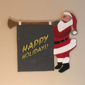 Santa With Trumpet Sign